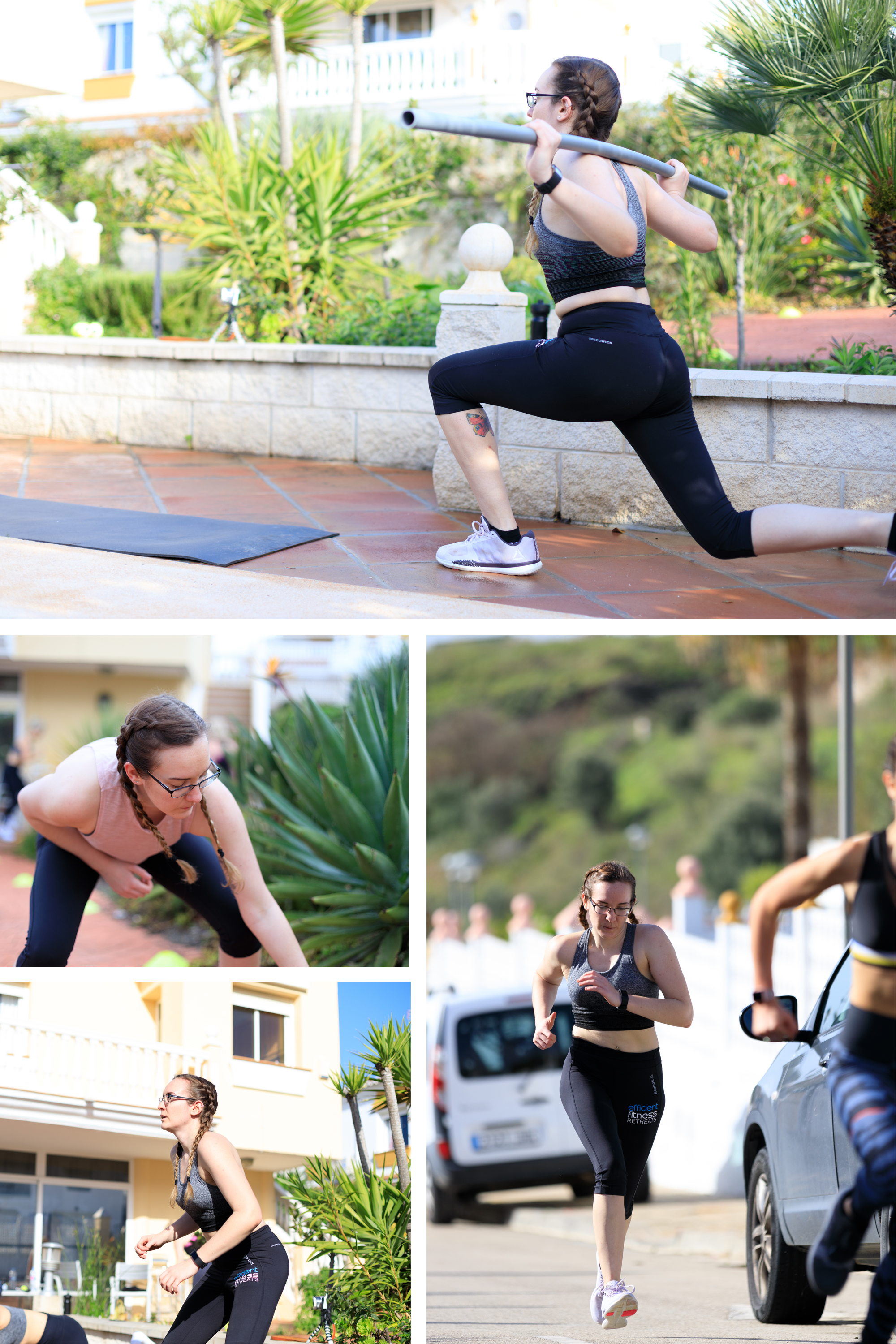 First Ever Efficient Fitness Retreat in Spain | Collage of Workout | awaywithkatie.com