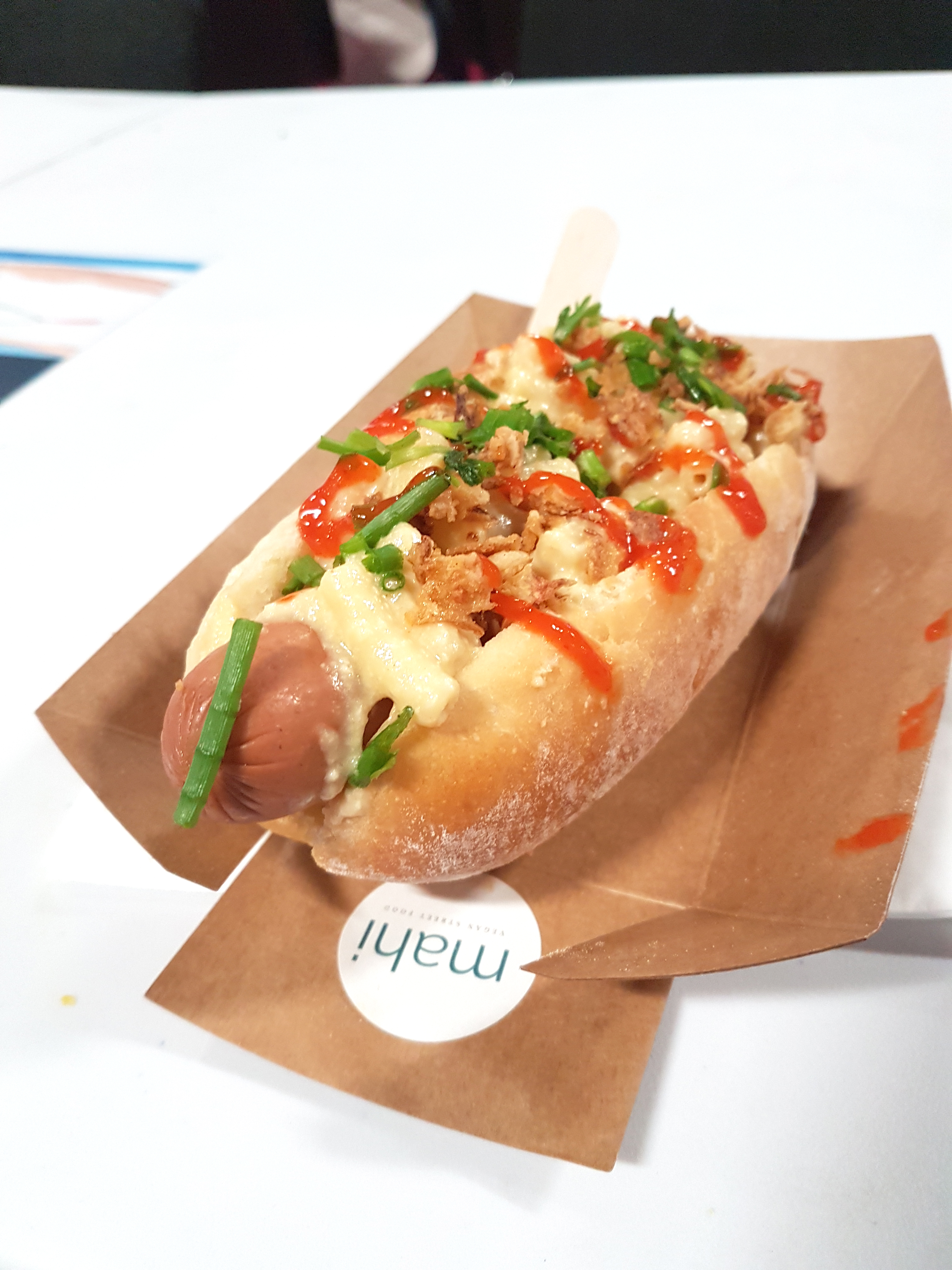 What to Expect at the Om Yoga Show, Event City Manchester | Mahi Seitan Hot Dog | awaywithkatie.com