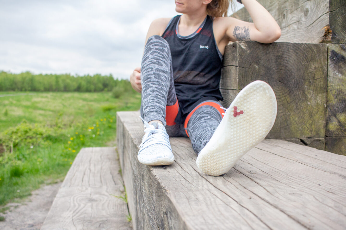 5 Things Discovered Whilst Wearing Vivobarefoot Shoes | Girl Wearing Vivobarefoot Shoes Showing Top and Sole | awaywithkatie.com