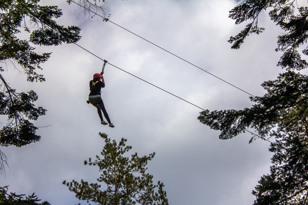 5 Things To Expect at Center Parcs Whinfell Forest | Girl on Zipline Against Sky | awaywithkatie.com