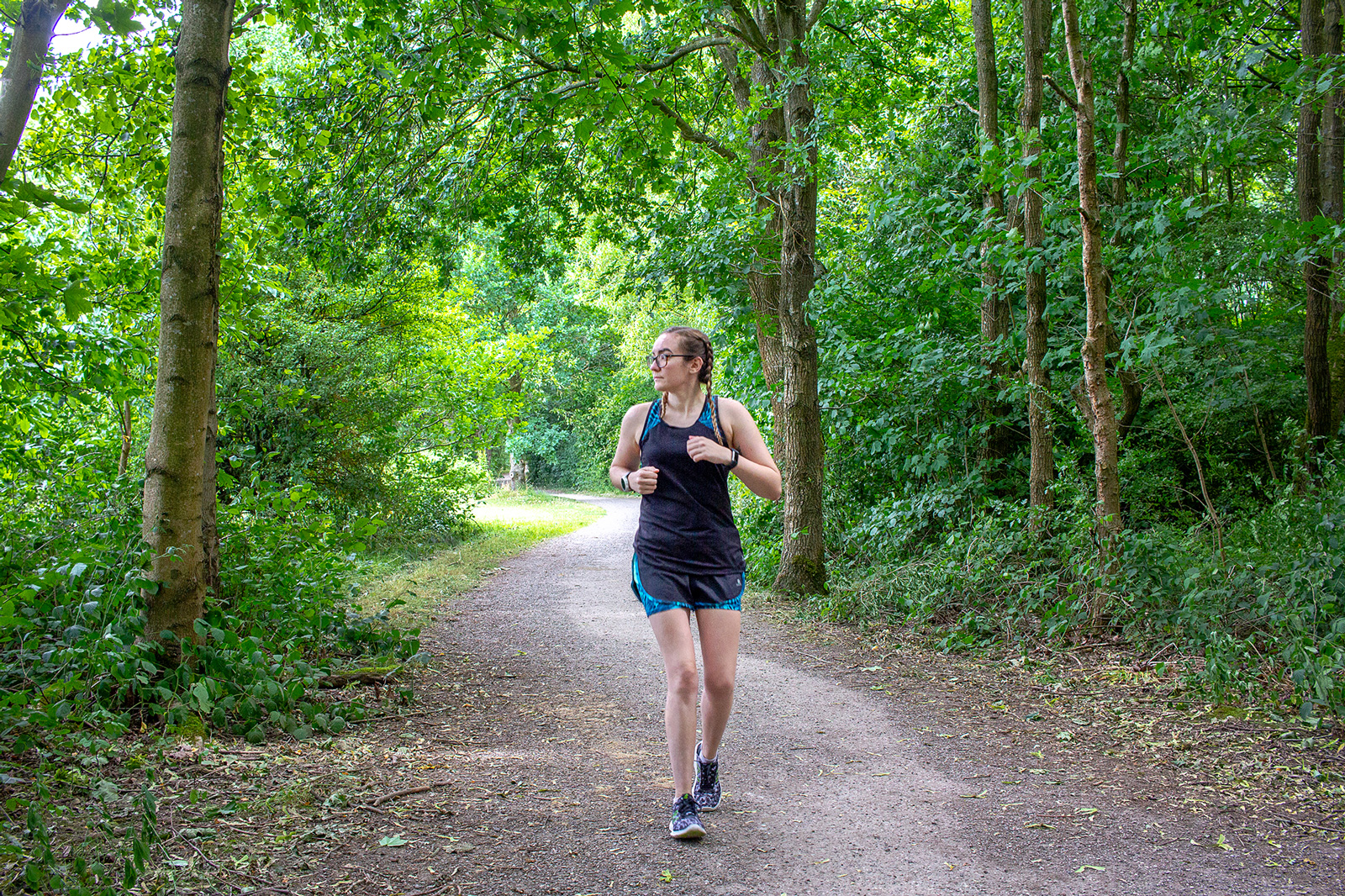 Online Running Coaching With Runners Connect | Girl Running in Woodland | awaywithkatie.com