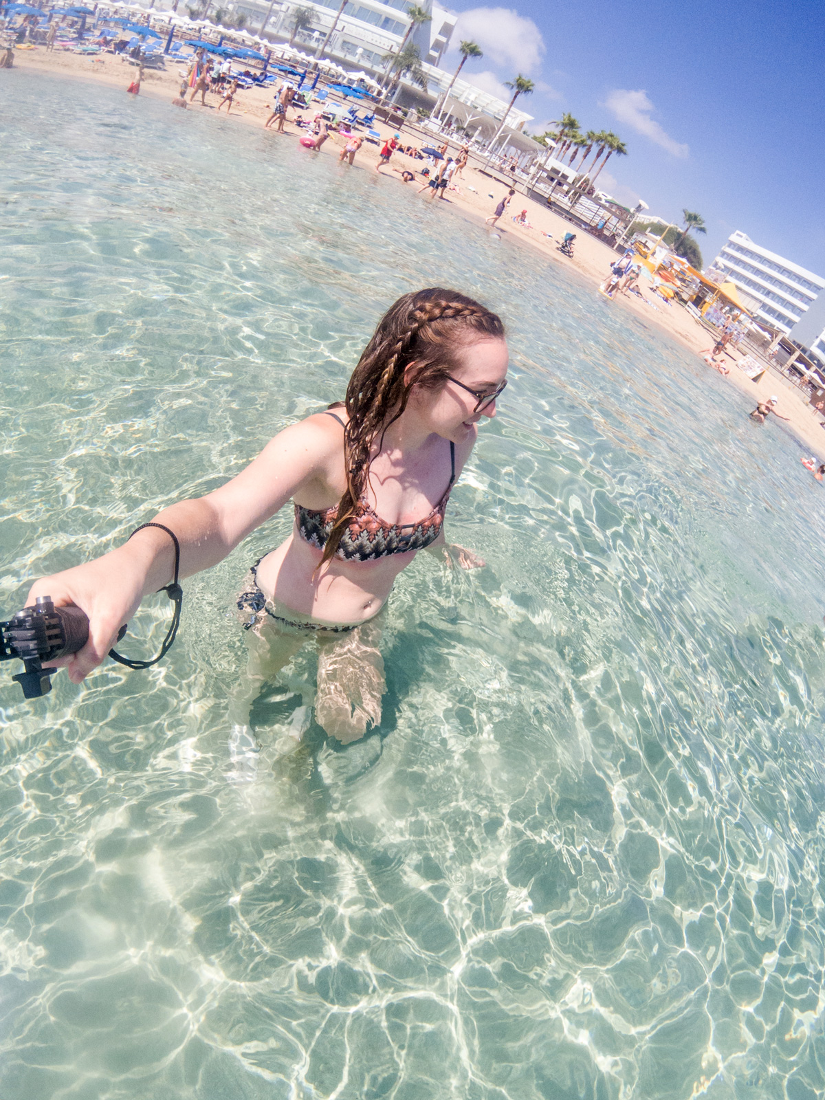Girl In Sea Using GoPro