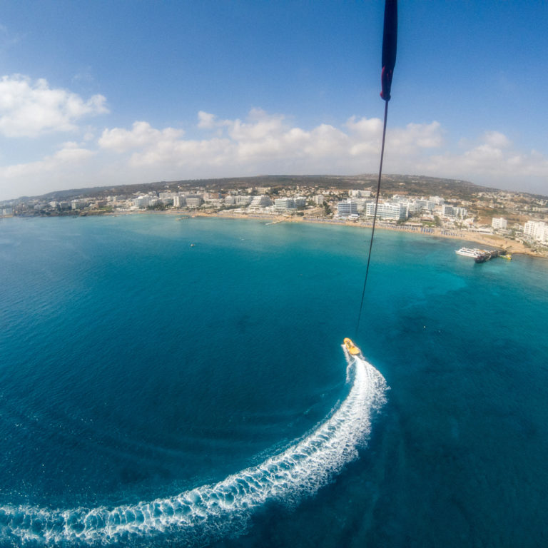 View of Cyprus Eastern Coast From Parasail