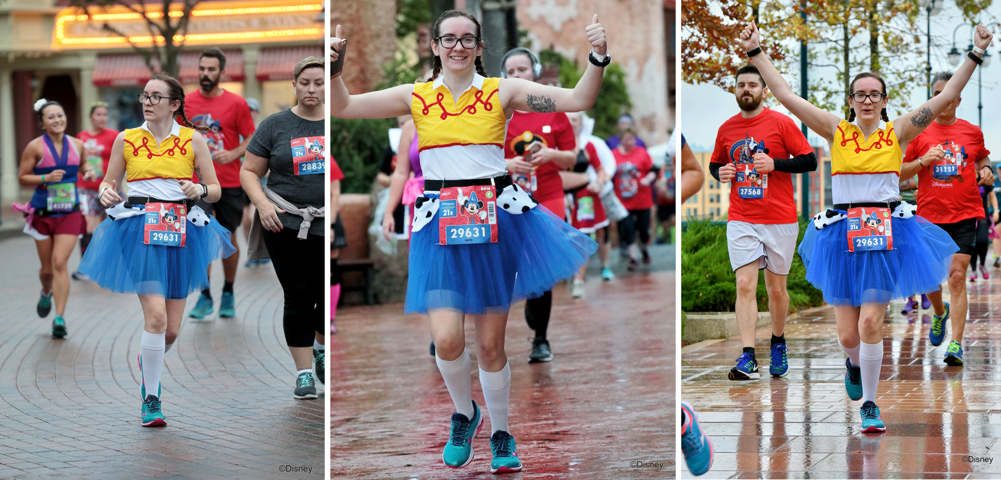 Girl in Jessie costume running the Disneyland Half Marathon.