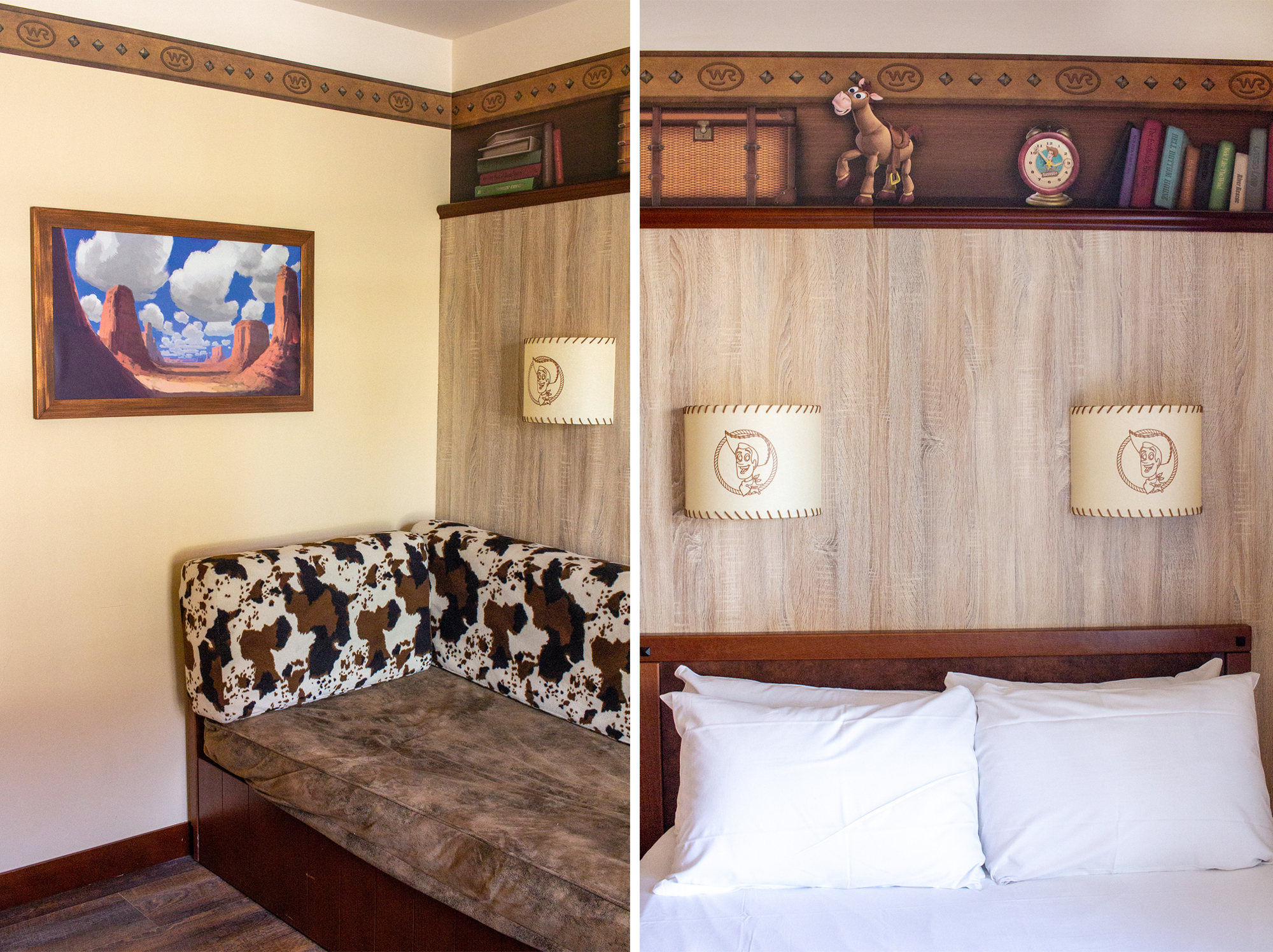 Hotel room with toy story decor and co print furnishings. | Staying at Hotel Cheyenne in Disneyland Paris