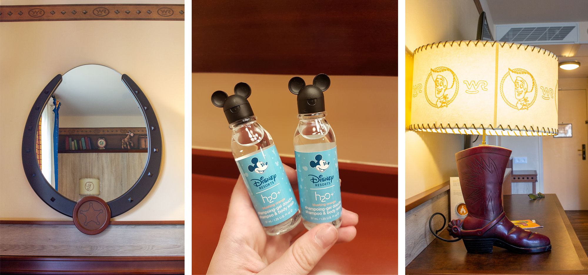 Horse shoe styled mirror, mickey mouse shower gel and a cowboy boot shaped lamp. | Staying at Hotel Cheyenne in Disneyland Paris