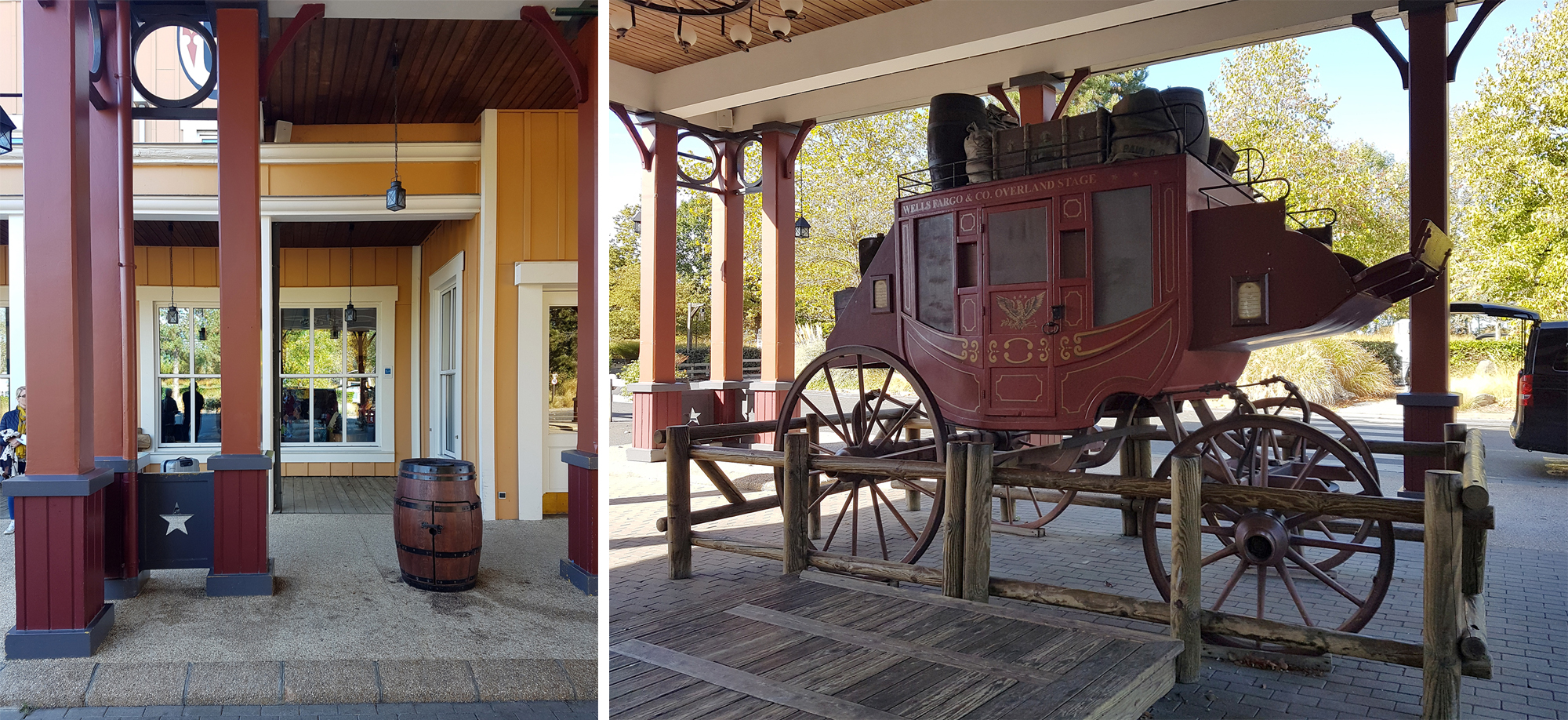 Hotel Cheyenne cowboy themed hotel, with carriage outside. | Staying at Hotel Cheyenne in Disneyland Paris
