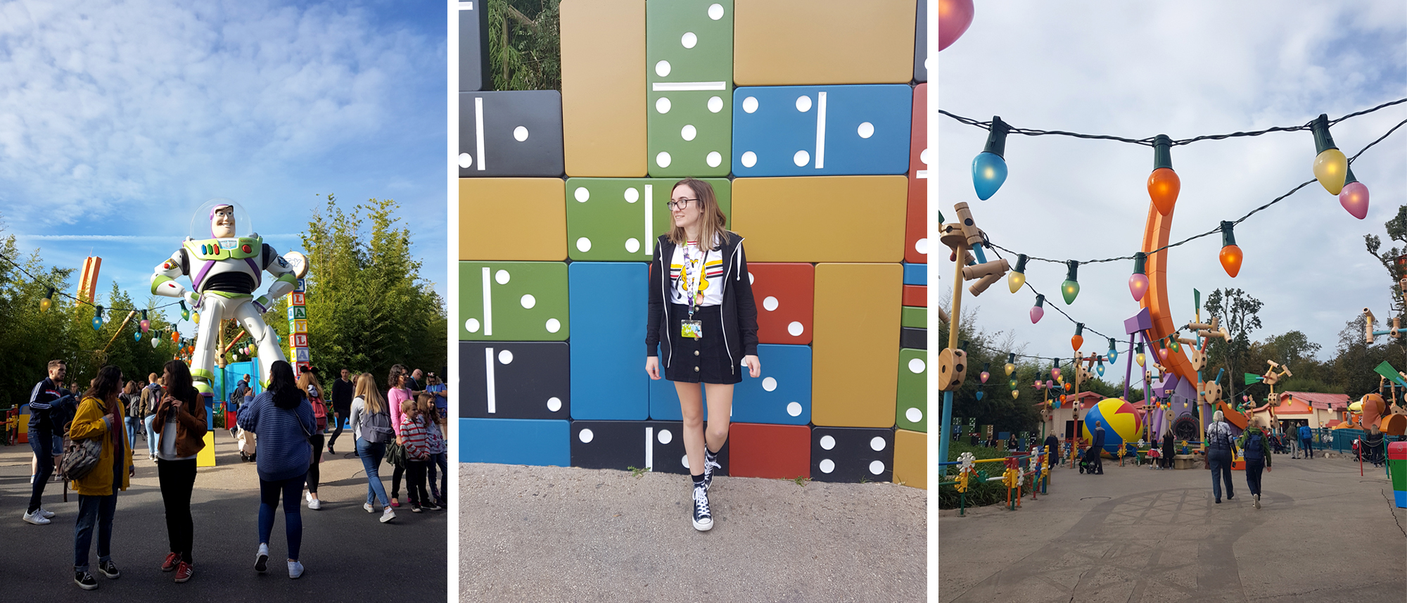 Giant Buzz Lightyear in Toyland and girl posing in front of domino wall  | 9 Tips for Disneyland Paris