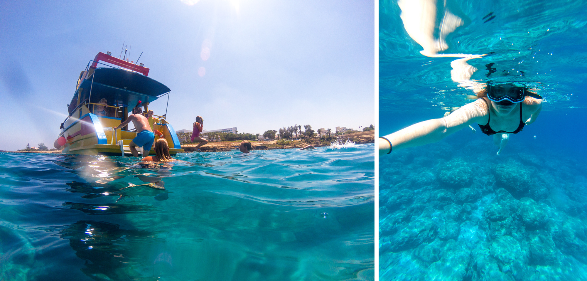 People climbing onto boat from the sea, and girl scuba diving in sea. | 4 Reasons Why I Need to Visit Cyprus Again