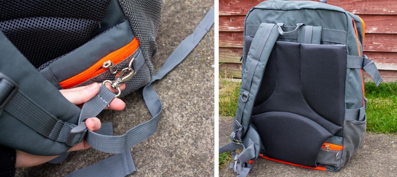 Back straps on Cabin Max backpack