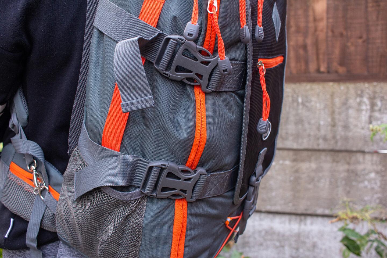 Side straps on Cabin Max backpack