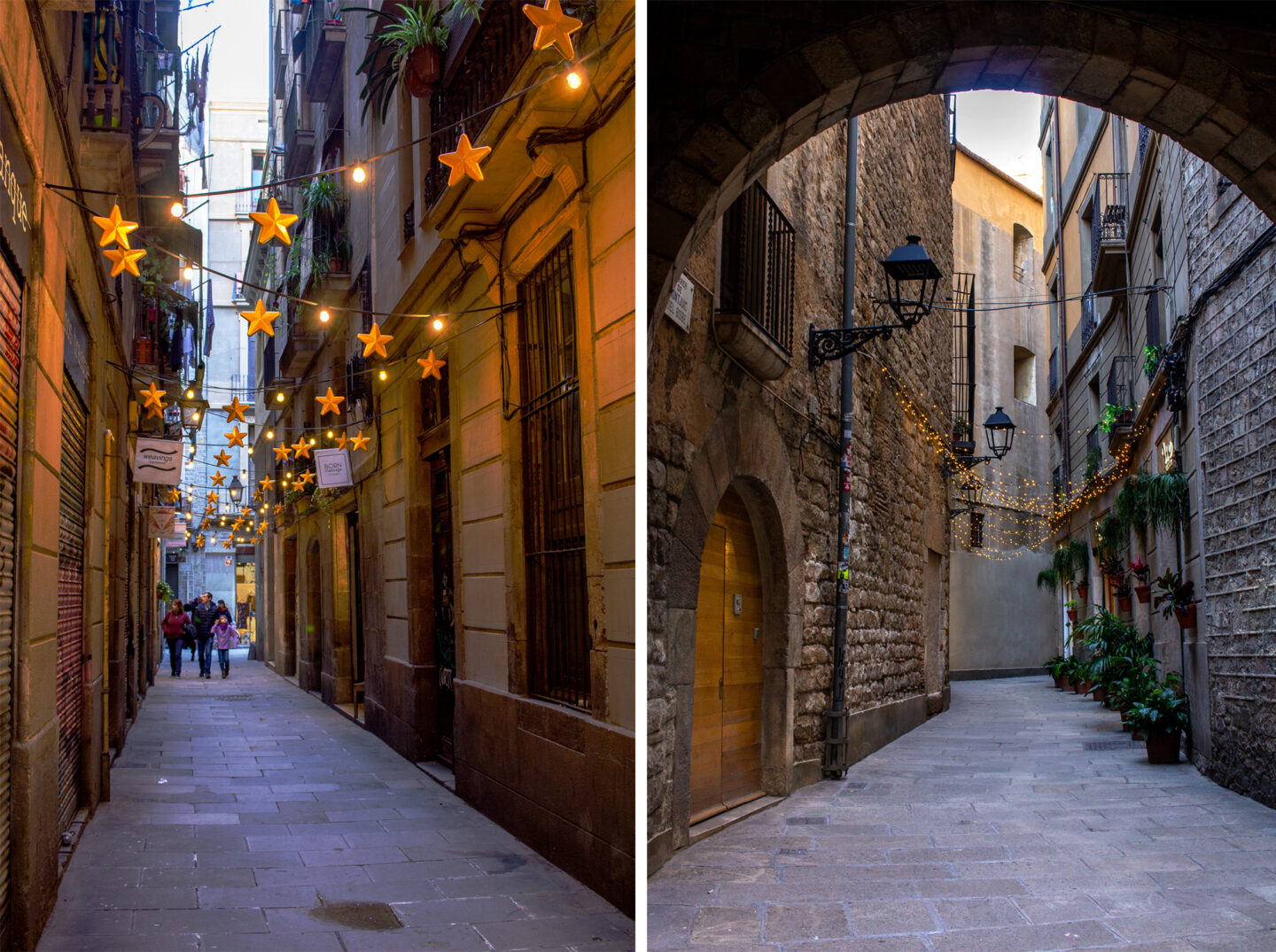 Narrow streets with fairy lights