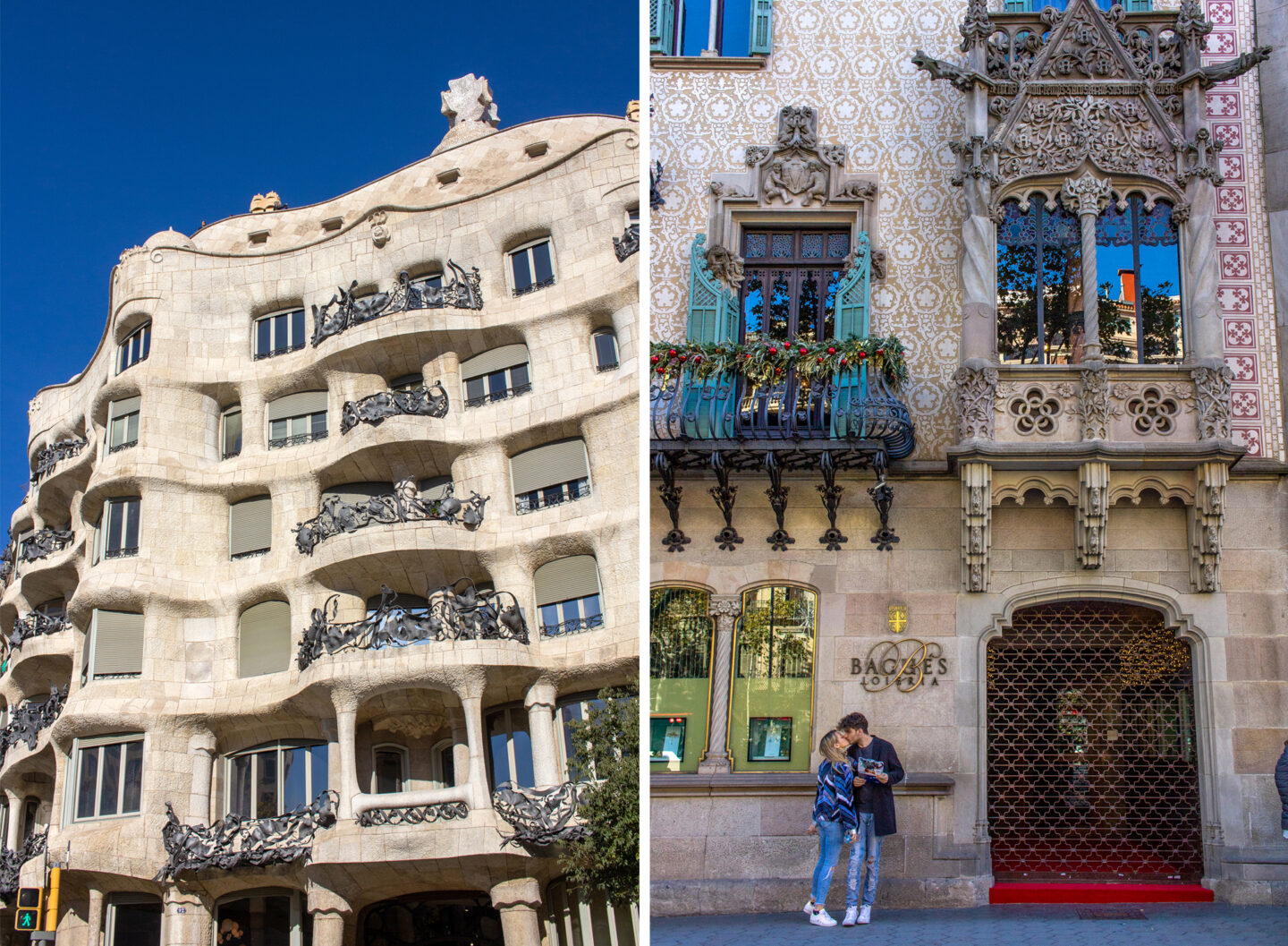Casa Mila and couple in front of building in Barcelona.
