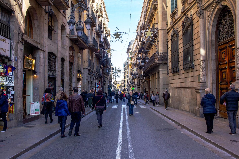 Barcelona Street with Christmas lights