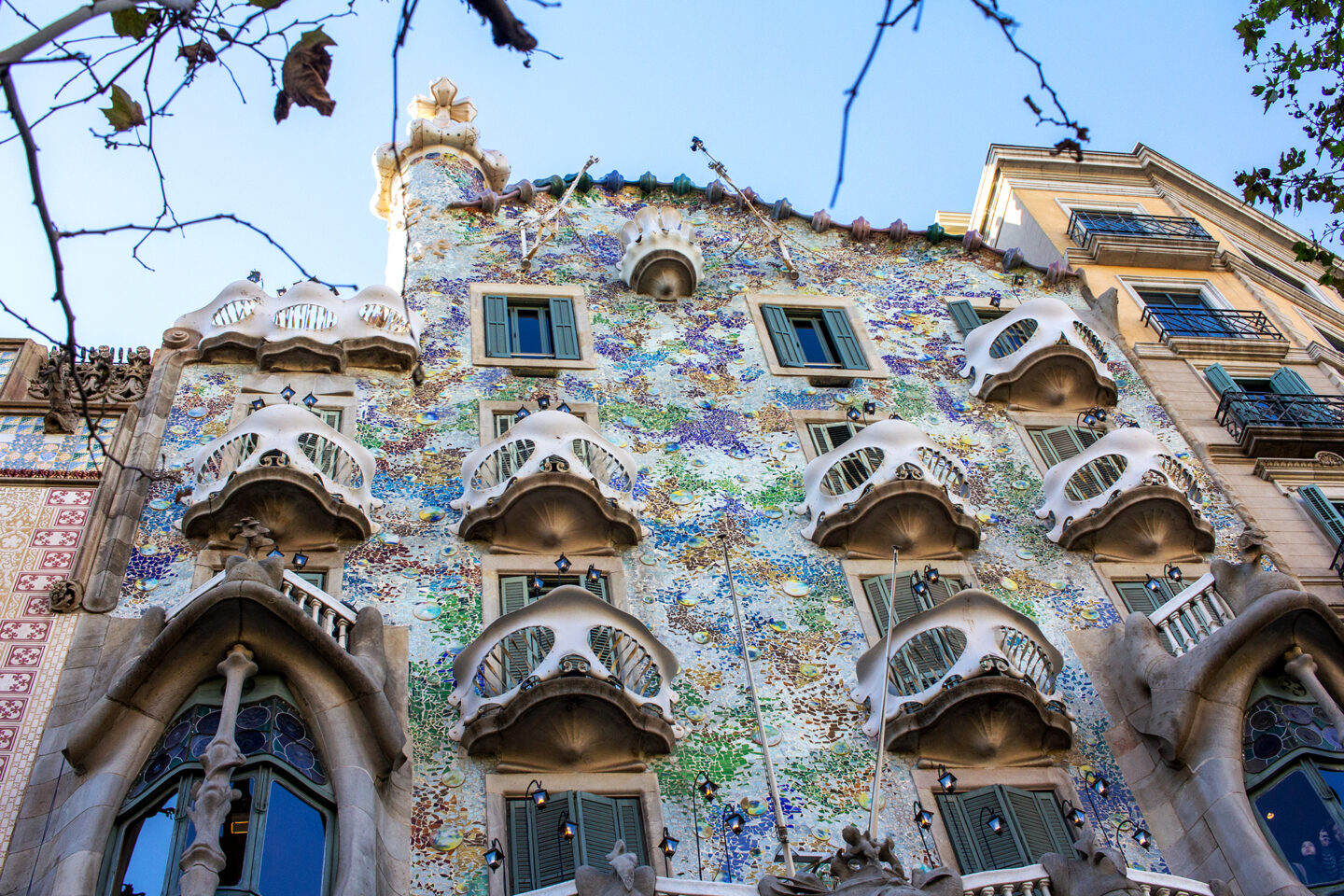 Coloured front of Casa Battlo in Barcelona