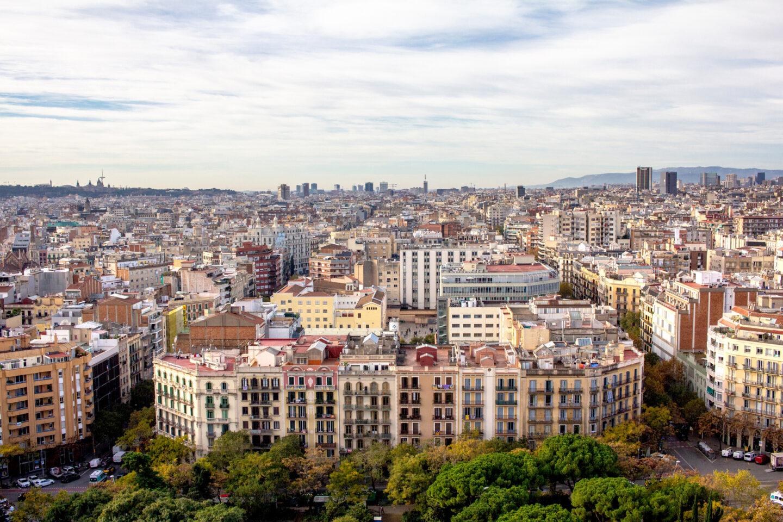 Building skyline of Barcelona.