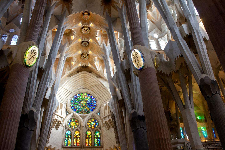 Sagrada Familia inside ceiling arches.