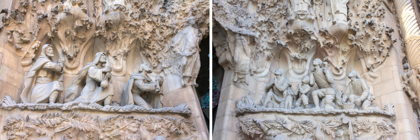 Details and statues of the three wise men and shepherds on the entrance of the Sagrada Familia.
