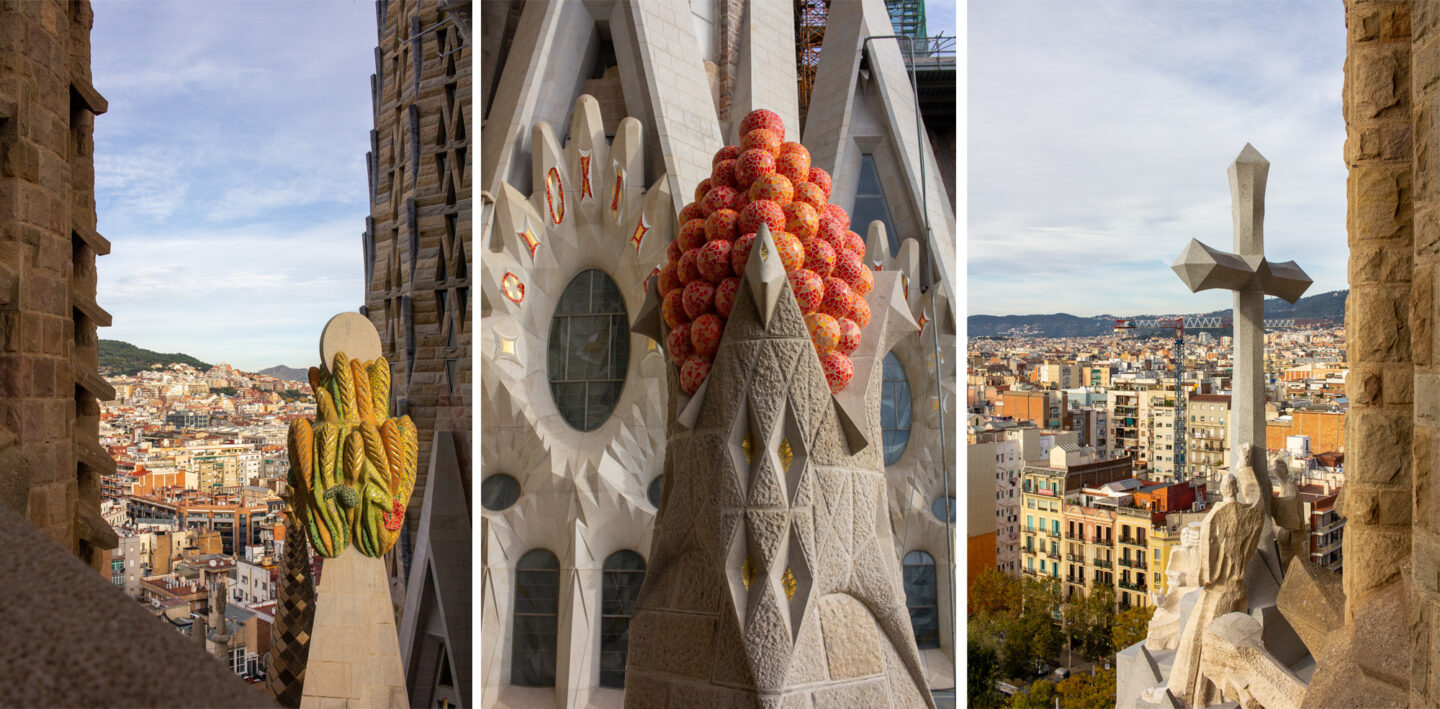 Views of the Barcelona city from the Passion Tower balcony.