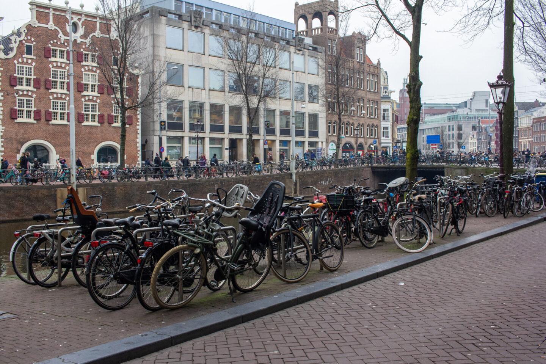 Bikes parked up on Amsterdam street