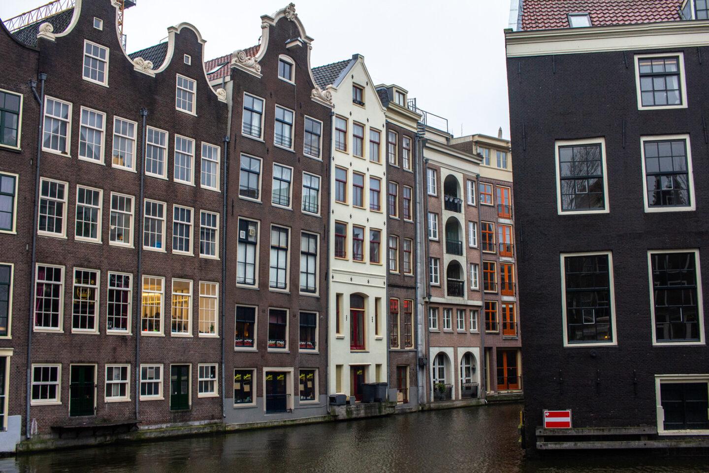 Amsterdam narrow buildings on water