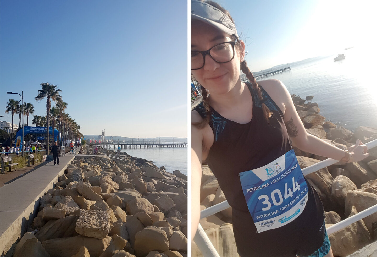 Coastal front of OPAP Limassol Marathon GSO with girl in front of water wearing Petrolina 10km Energy Race bib